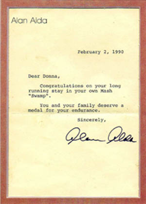 Tent lady, Donna Bernhardt received a letter from MASH star, Alan Alda.